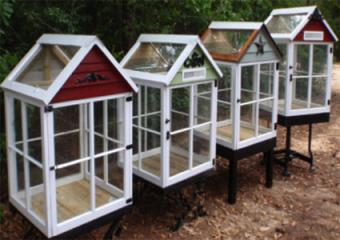 Miniature greenhouses made from old windows