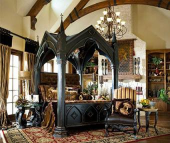 gothic medieval four poster bed