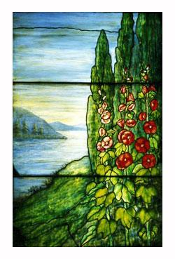 Mountains and Lake Leaded Glass Window Design