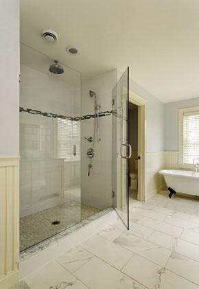 Luxury bathroom with glass shower