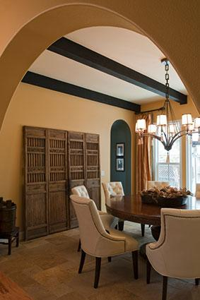 Dining room with architectural features