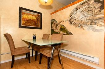 Dining corner with painted wall