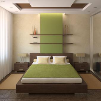 Modern bedroom with shelves