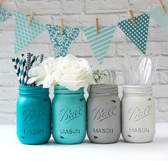 Painted and distress Mason Jars by It All Started With Paint
