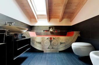 Bathroom beams with a skylight