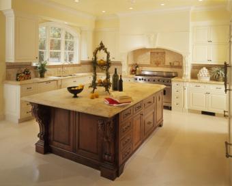 mismatched kitchen island