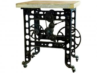 Iron and Marble Steampunk Table