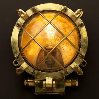 Brass Ships Round Diagonal Cage Bulkhead Light