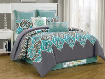 8-Pc Euro Damask French Lily fleur-de-lis Comforter Set