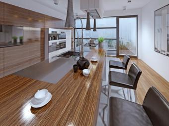 Modern kitchen with zebrano facade