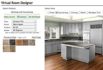 Screenshot of kitchen in Virtual Room Designer