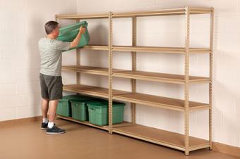 freestanding basement shelves