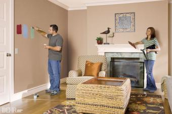 BEHR paint sampling on wall