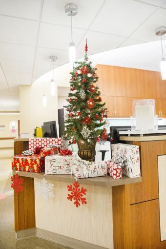 Snowflake theme Christmas tree at reception desk