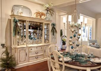 Using the top of the china cabinet