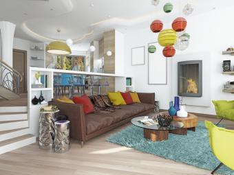 Postmodern style great room
