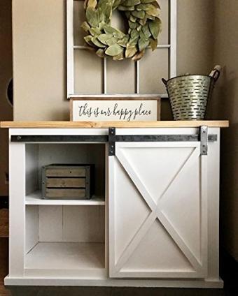 DIYHD 39in Wooden Cabinet Sliding Barn Door Hardware Mini Barn Door Track Kit