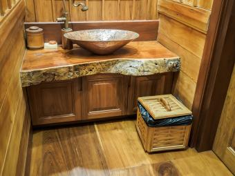 rustic outhouse style bathroom