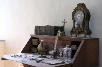 Old slant top mahogany desk