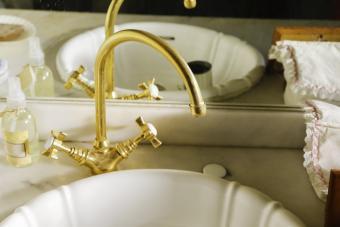 Art deco sink & brass fixtures