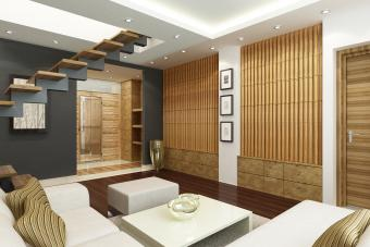 Modern living room with bamboo