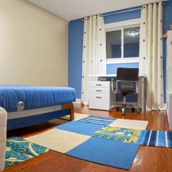 Blue color blocked teen bedroom