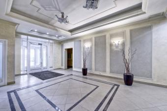 Apartment lobby with white interior design