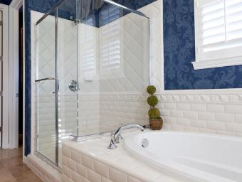 Blue and white themed bathroom