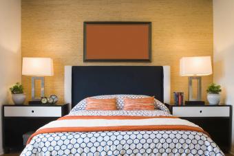 Textured wallpaper in contemporary bedroom