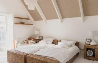 Bedroom with brown ceiling
