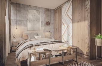 bedroom with wooden elements