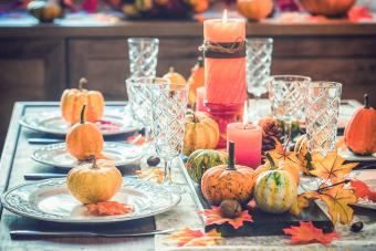 Dining Table with Autumn Decoration
