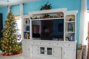 Entertainment center decorated for Christmas
