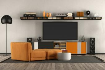 Modern entertainment center with splash of color
