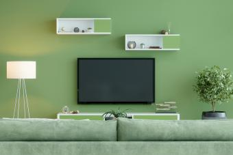 Smart Tv Mockup With Blank Screen In Green Room