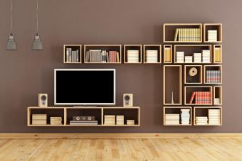 Entertainment center with library