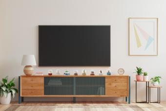 TV center with snow globe collection