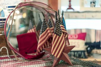 Display of American flags decorating for patriotic holidays