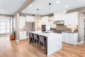 kitchen with island and breakfast bar
