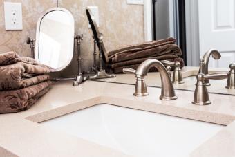 Luxury bathroom interior with granite countertop