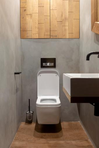 Simple modern light interior design of bathroom