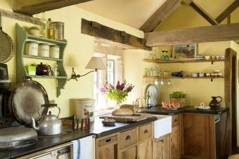 Rustic kitchen with oak ceiling beams