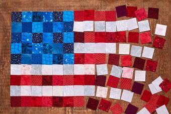 fabrics lying like a flag of USA