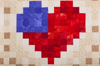 Quilted American flag heart