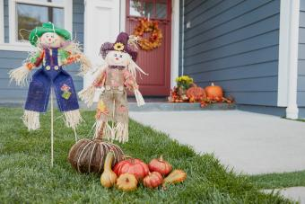 Scarecrows decorations on the yard