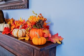 Fall decorations on fireplace mantel