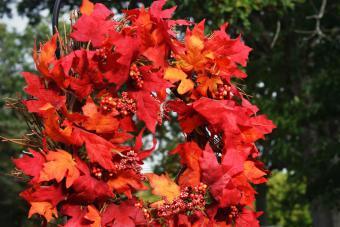 A fall leaf wreath hanging