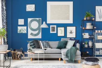 Cozy blue living room