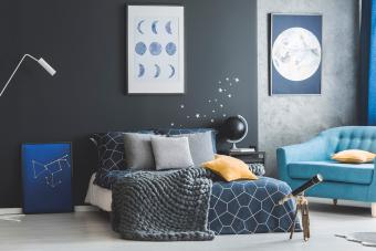Astronomy bedroom interior with posters