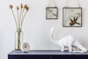 Stylish scandinavian living room dinosaurs sculpture